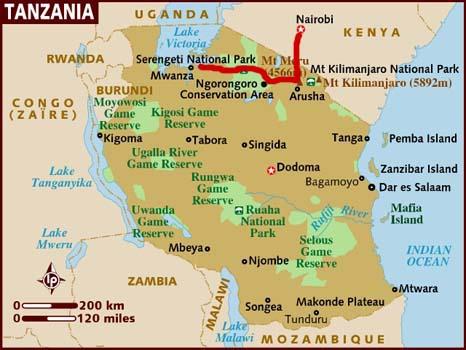 mappa di Kenya e Tanzania