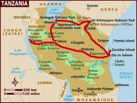 mappa della Tanzania
