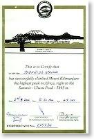 Tanzania - Kilimanjaro - certificato Sigfrido