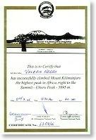 Tanzania - Kilimanjaro - certificato Valeria