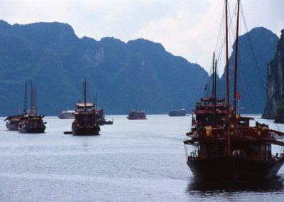 Traditional Tourist Boat in Halong Bay , Vietnam