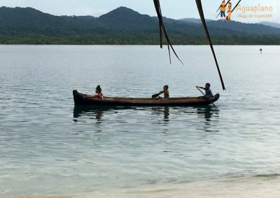 Kuna's children canoeing - San Blas Islands, Panama