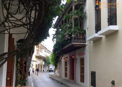 Little street in the old city - Cartagena, Colombia
