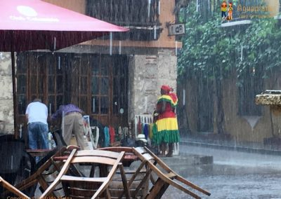 Rain in the old city - Cartagena, Colombia