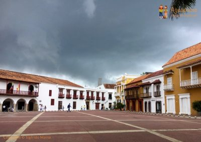 Square and storm - Cartagena, Colombia